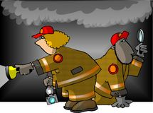 Fire Investigators. This illustration that I created depicts 2 fire department investigators Stock Images
