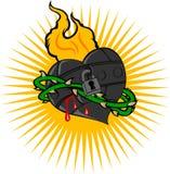 Fire Iron Heart. Vector Illustration Stock Image