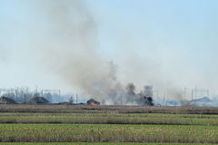 Fire on irrigation canals Stock Photo