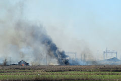 Fire on irrigation canals Stock Photos