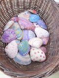 Fire Island Hand Painted Sea shells in a woven basket Stock Photos