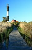 Fire Island Lighthouse Boardwalk. Boardwalk over the marsh to the Fire Island Lighthouse in Fire Island National Seashore, New York stock photography