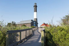 Fire Island Lighthouse from Boardwalk entrance. The Fire Island Lighthouse looking up from the boardwalk as you approach the lighthouse on a bright sunny July royalty free stock images