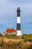 Fire Island lighthouse and keepers quarters, Long Island, NY royalty free stock images