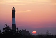 Fire Island Lighthouse in the Morning Sunrise. Fire Island Lighthouse located at Fire island National Shoreline, Long Island New York stock image