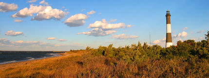 Fire Island Lighthouse. Panoramic view Fire Island Lighthouse taken on the North side facing bay stock image