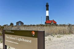 Fire Island Lighthouse. The Fire Island Lighthouse is a visible landmark on the Great South Bay, in southern Suffolk County, New York on the western end of Fire royalty free stock image