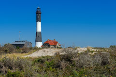 Fire Island Lighthouse. Wide angle view of the Fire Island Lighthouse. Long Island, New York stock photography