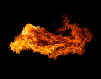 Fire isolated on black background. stock photos