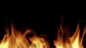 Fire isolated on black background stock video footage