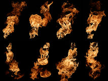 Fire isolated on black photo collage. Photo collection of fire isolated on black Royalty Free Stock Photography
