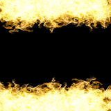 Fire of isolated flames on black background.  Stock Photos