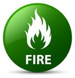 Fire green round button. Fire isolated on green round button abstract illustration Stock Photos
