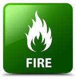 Fire green square button. Fire isolated on green square button abstract illustration Stock Photography