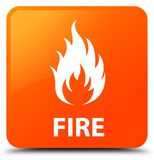 Fire orange square button. Fire isolated on orange square button abstract illustration Royalty Free Stock Photos