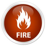 Fire premium brown round button Royalty Free Stock Images