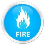 Fire premium cyan blue round button Stock Images