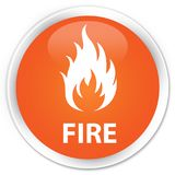 Fire premium orange round button. Fire isolated on premium orange round button abstract illustration Royalty Free Stock Photos