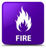 Fire purple square button. Fire isolated on purple square button abstract illustration Stock Image