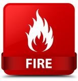 Fire red square button red ribbon in middle Stock Photos