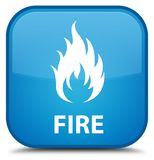 Fire special cyan blue square button. Fire isolated on special cyan blue square button abstract illustration Stock Image