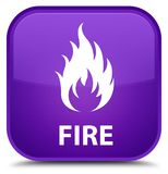 Fire special purple square button Royalty Free Stock Photos
