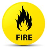 Fire yellow round button. Fire isolated on yellow round button abstract illustration Stock Photos