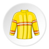 Fire jacket icon, cartoon style. Fire jacket icon in cartoon style isolated on white circle background. Clothing fireman symbol vector illustration Royalty Free Stock Image