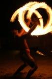 Fire juggler. Famed fire-knife dance of Bora Bora Stock Image