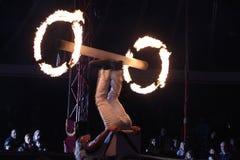 Fire juggler Lidvik Navratil performs in the Humberto Circus. Stock Image