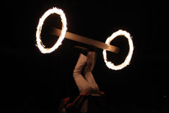 Fire juggler Lidvik Navratil performs in the Humberto Circus. Royalty Free Stock Photos