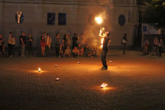 Fire juggler performs Royalty Free Stock Image
