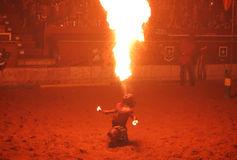 Fire juggler performs during Medieval Knight Show Royalty Free Stock Photo