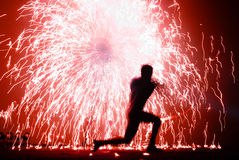 Fire juggler and sparks Royalty Free Stock Photo