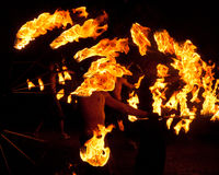 Fire Jugglers. Juggling with flaming torches can be challenging, yet it always is a spectacular view stock images