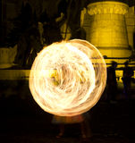 Fire juggling and fire swirls Royalty Free Stock Images
