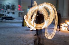 Fire Juggling At Night - Fire Show royalty free stock photo