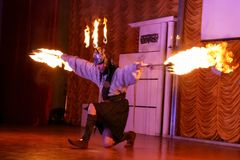 Fire juggling performance stock photography