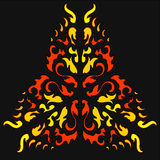 Fire Khokhloma Native Ornament. Ornament in  native  tribal style with curls sharp angles and flames Royalty Free Stock Images
