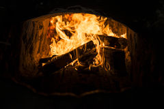 Fire in the kiln. Stock Photography