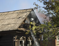 Fire in Kungur. Perm Krai. Russia Stock Images