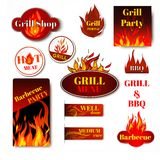 Fire label grill. Hot price fire flame paper sale discount promotion labels badges and tags isolated vector illustration Stock Images
