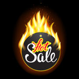 Fire label with original lettering Hot. Illustration for business promotion (sale, offer, price and deal). For posters, icons, logotypes, cards, print and web Royalty Free Stock Photography