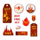 Fire label set Royalty Free Stock Photos