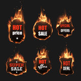 Fire labels set. In vector Royalty Free Stock Images