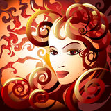 The fire lady. Illustration with woman face in flame against burning skies as allegory of fire element drawn in fantasy style Royalty Free Stock Images