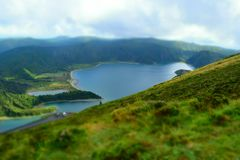 Fire lagoon azores Stock Photo
