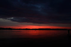 Fire Lake Sunset Royalty Free Stock Images