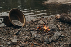 Fire on the lake where gold is mined Royalty Free Stock Image