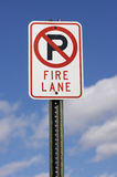Fire Lane Sign. No Parking Fire Lane Stock Photo
